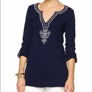 Lilly Pulitzer Dark Blue Eliana Long Sleeve Tunic